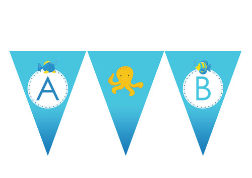 Sea Creatures Birthday party personalised bunting flag decorations.
