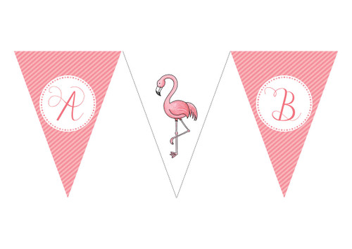 Pink Flamingo Birthday party personalised bunting flag decorations.