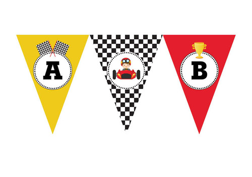 Go Karting Birthday party personalised bunting flag decorations.