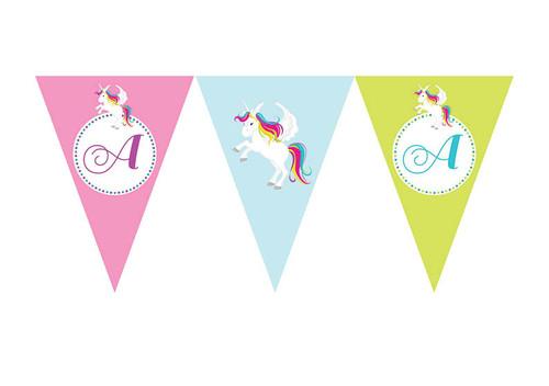 Unicorn Birthday party personalised bunting flag decorations.