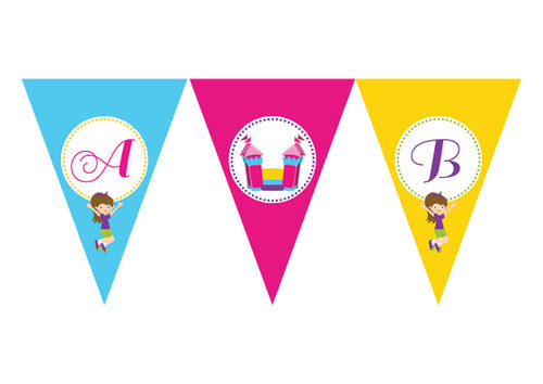 Bounce Jumping Birthday party personalised bunting flag decorations.