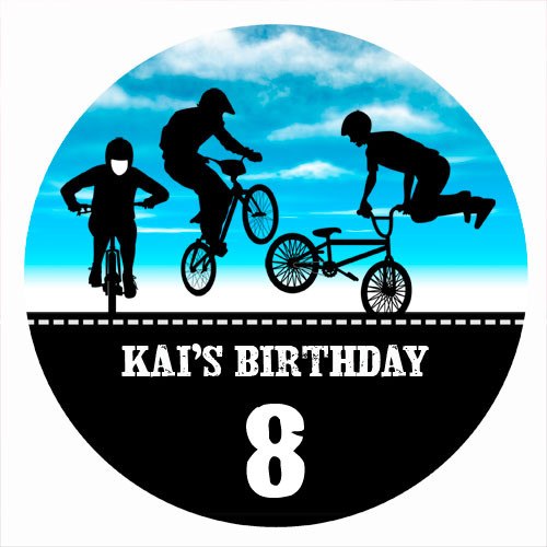 Birthday Party Labels & Stickers - BMX Bike Blue