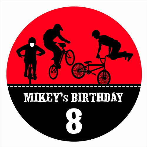 Birthday Party Labels & Stickers - Red BMX Bike