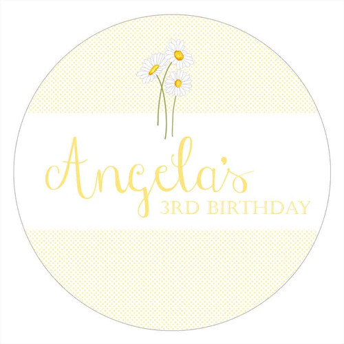 Daisy Party Personalised Party Labels & Stickers & Stickers.