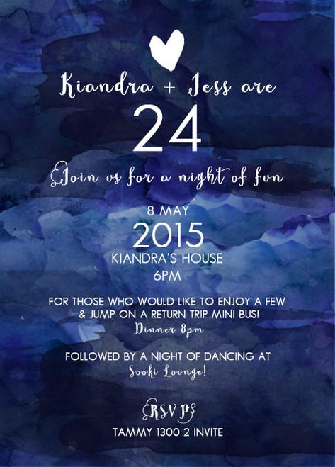 Navy Blue Watercolour 24th Birthday Party Invitation.