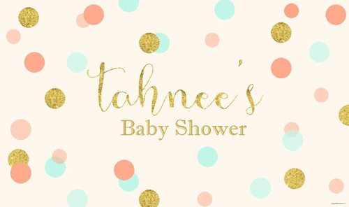 Mint, Peach and Gold Glitter Baby Shower Backdrop and Banners.