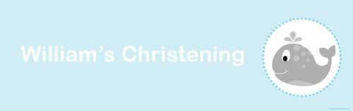 Little Whale Personalised Baptism & Christening Banner. Australian online christening banner shop.