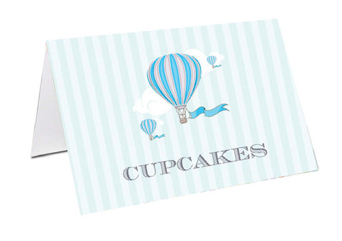 Blue Hot Air Balloon Personalised Place Cards, Name cards & Buffet cards.