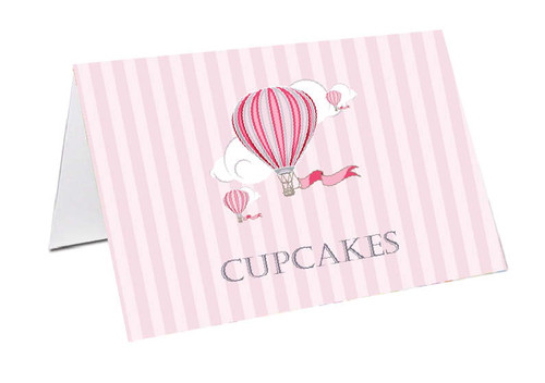 Pink Hot Air Balloon Personalised Place Cards, Name cards & Buffet cards.