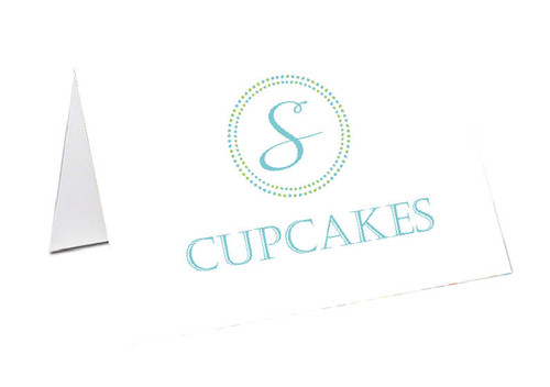 Monogram Initial Personalised Place Cards, Name cards & Buffet cards.