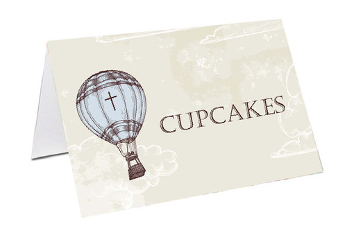 Vintage Hot Air Balloon Personalised Place Cards, Name cards & Buffet cards.