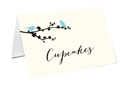 Two Blue Birds Personalised Place Cards, Name cards & Buffet cards.