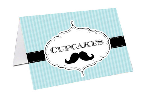 Little Moustache Man Personalised Place Cards, Name cards & Buffet cards.