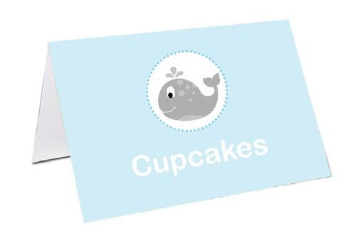 Little Whale Personalised Place Cards, Name cards & Buffet cards.
