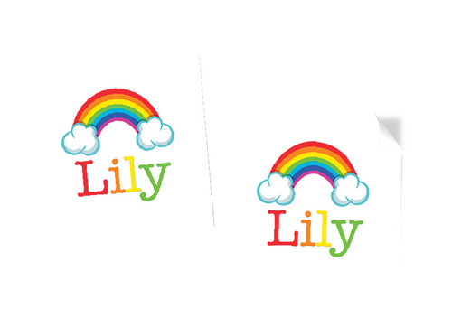 Rainbow Party Personalised Square Labels, Square Stickers and Square Tags
