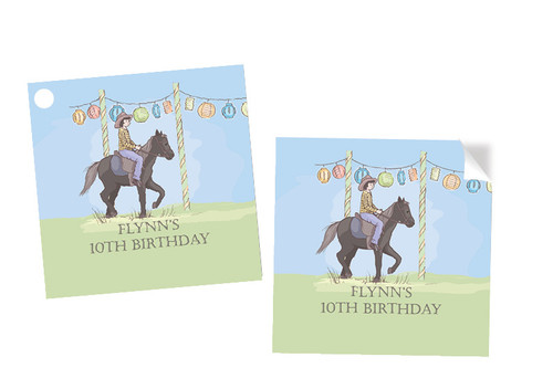 Boys Pony Party Personalised Square Labels, Square Stickers and Square Tags.