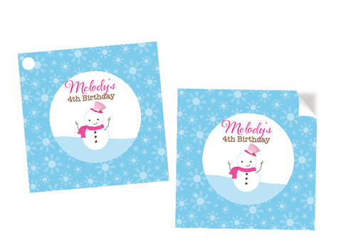 Snowman Winter Wonderland Party Personalised Square Labels, Square Stickers and Square Tags.