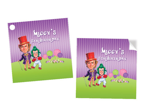Willy Wonka Birthday Labels - Willy Wonka Party Favour labels - Personalised Square Labels, Square Stickers and Square Tags. Printed in Melbourne Australia