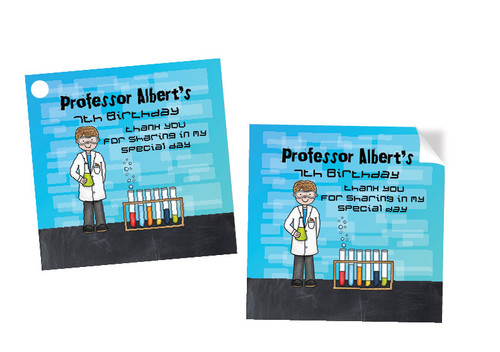 Science Party Personalised Party Stickers, Labels and Tags.