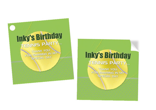 Tennis Party Personalised Party Stickers, Labels and Tags.