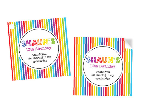 Rainbow Party Personalised Party Stickers, Labels and Tags.