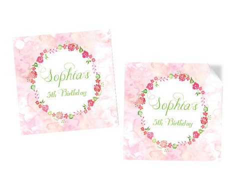 Floral Water Colour Party Personalised Party Stickers, Labels and Tags.
