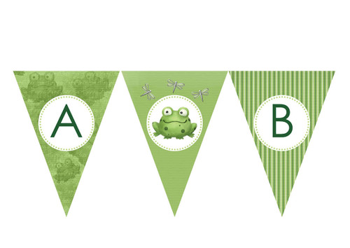 Green Frog Party Personalised Bunting Decoration Flags.