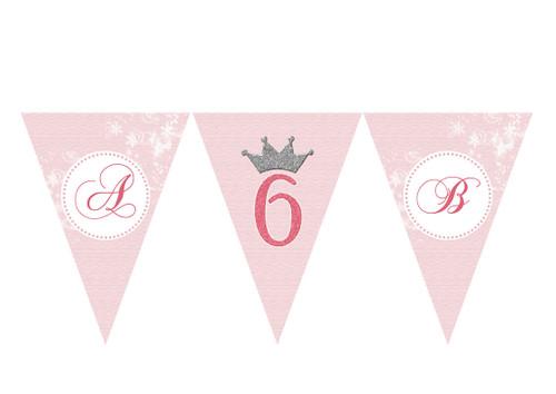 Tiara Princess Party Personalised Bunting Decoration Flags.