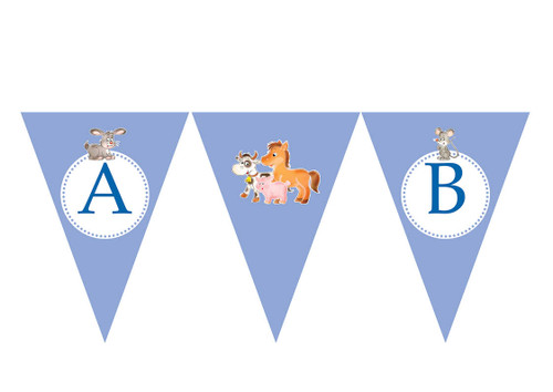 Petting Zoo Party Personalised Bunting Decoration Flags.