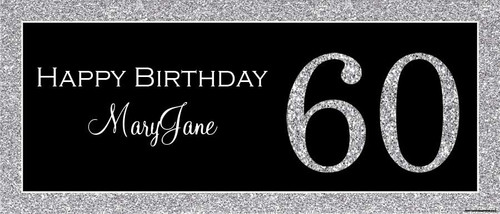 Silver Glitter Look Birthday Party Posters, and Happy birthday banners. Printed in Australia. Buy online with Afterpay, PayPal or card