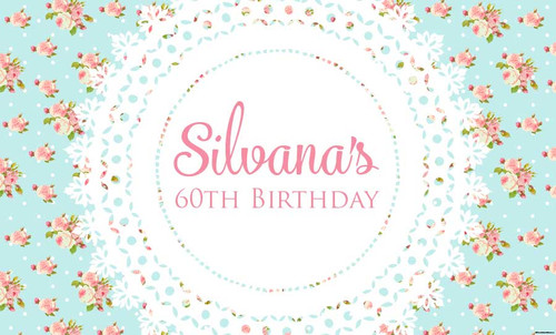 Blue Shabby Chic Vintage Birthday Party Posters, Banners and decorations. Printed in Melbourne Australia. Buy online with Afterpay, Paypal or major cards.