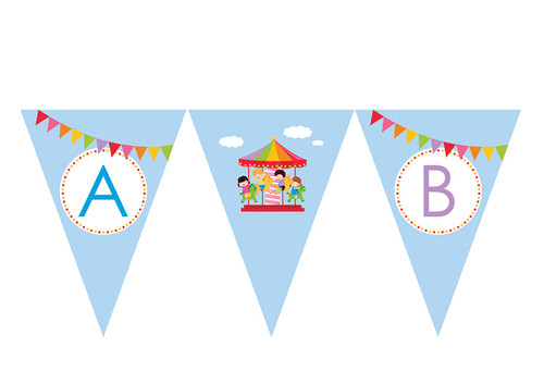 Carousel Carnival Personalised Birthday Party Bunting Decorations.