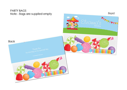 Carnival Carousel Personalised Lolly bags, Favour Bags & Loots Bags.