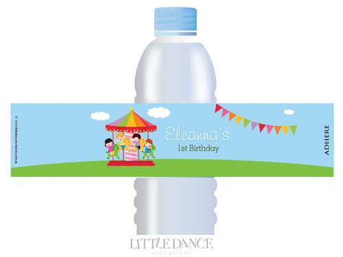 Carnival Carousel Personalised Waterbottle Labels