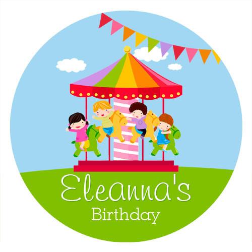 Birthday Cake Edible Image - Carnival Carousel