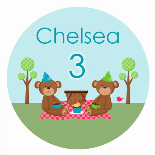 Teddy Bear Picnic Birthday Cake Icing & Personalised cake, cookie & cupcake icing sheets.