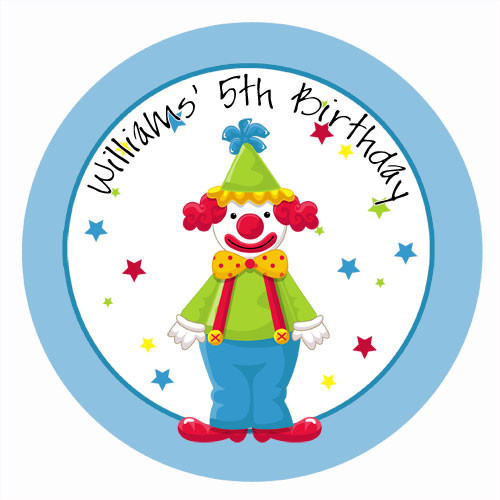 Clown Around Circus Personalised Birthday Cake Edible Image, Cake Icing.