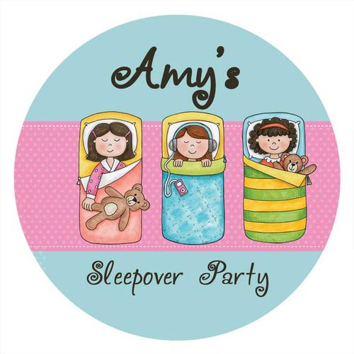 Girls Sleepover Personalised Birthday Cake Edible Image, Cake Icing.