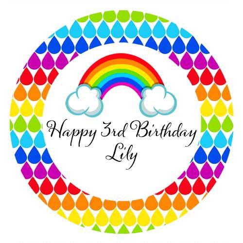 Rainbow Personalised Birthday Cake Edible Image, Cake Icing.