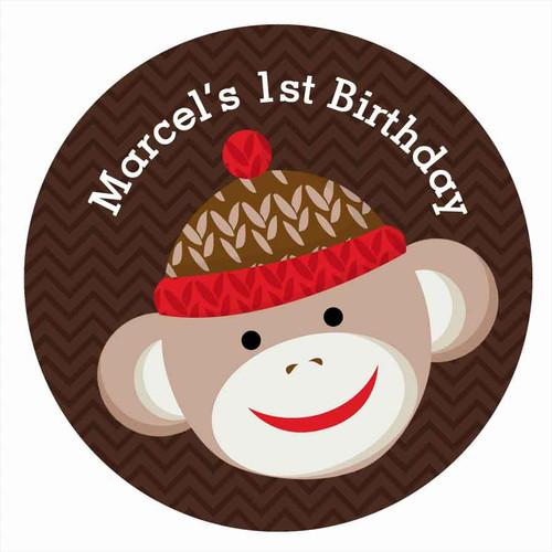 Sock Monkey Personalised Birthday Cake Edible Image, Cake Icing.