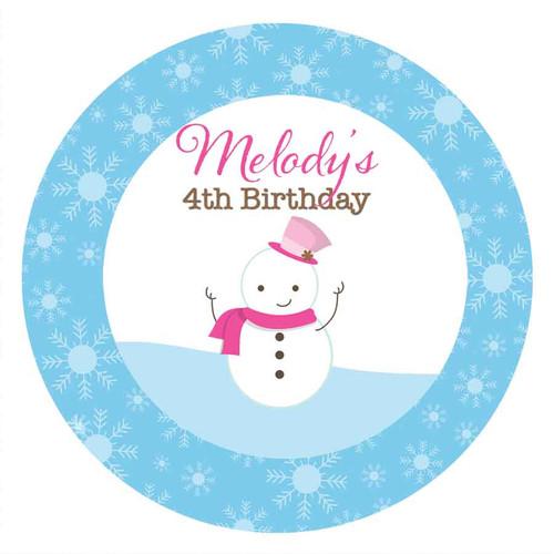 Snowman Winter Wonderland Party Personalised Birthday Cake Edible Image, Cake Icing.