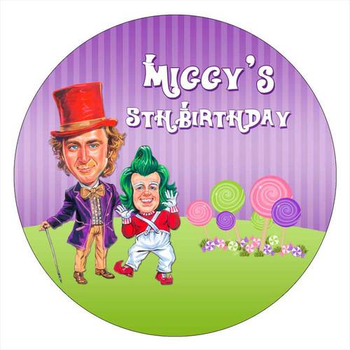 Wonka Birthday Party Personalised Birthday Cake Edible Image, Cake Icing.