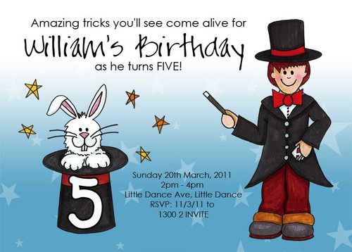 Magical Magician Personalised Birthday Party Invitations.