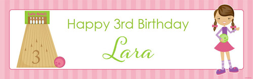 Girls Ten Pin Bowling Personalised Birthday Party Banner