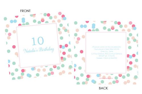 Pink & Aqua Confetti Birthday Party Invitations.