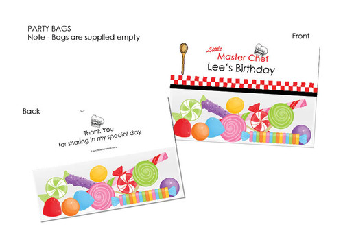 Little Master Chef Personalised Party Favour Lolly Bags.