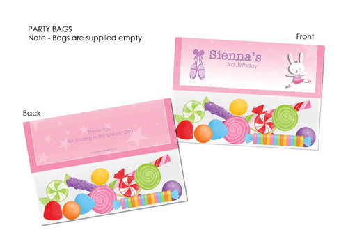 Ballet Bunny Personalised Party Favour Lolly Bags.