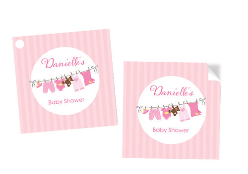 Pink Baby Clothesline Square Personalised Stickers, Labels and Tags. Buy online in Australia. Afterpay, PayPal, Credit Card accepted.