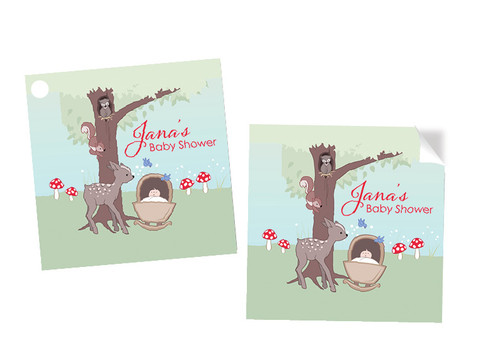 Baby Forest Animals Square Personalised Stickers, Labels and Tags.