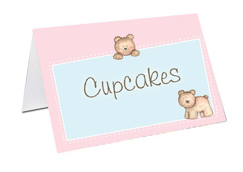 Baby Bear Baby Shower Personalised Baby Shower Place Cards, Buffet Cards & Name Cards.